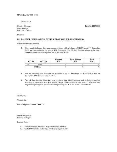 Reminder Payment Due Letter best photos of outstanding balance letter sle past