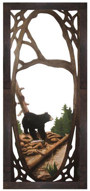 large rustic black bear on wood hand painted by hand carved rustic doors hand painted interior doors