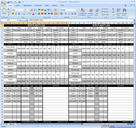 flight log template flight plan template