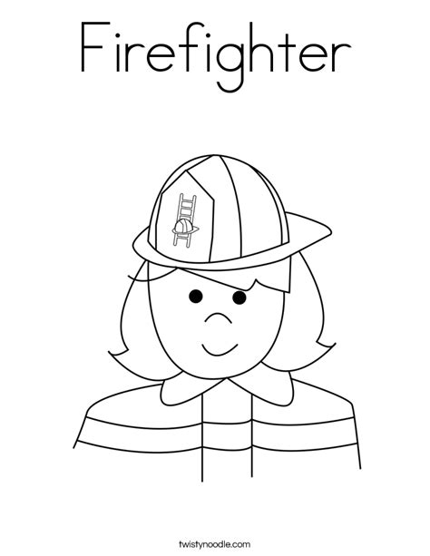 Firefighter Coloring Page Twisty Noodle Firefighter Coloring Page