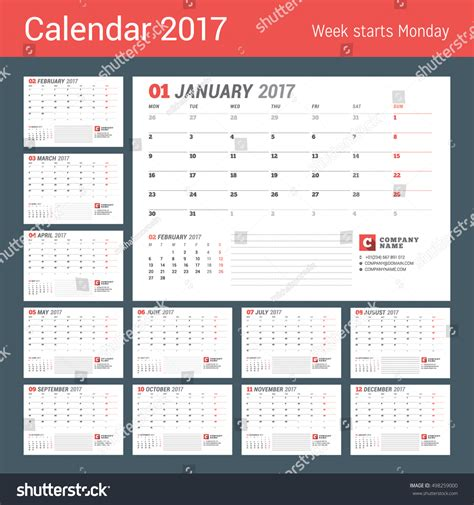 calendar template 2017 year business planner stock vector
