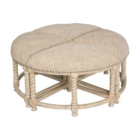 Round Ottoman Coffee Table Tufted