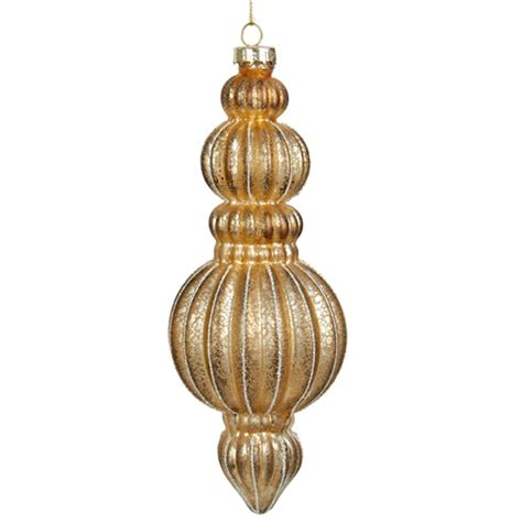 new kurt adler 7 quot gold glass finial christmas ornament c4680