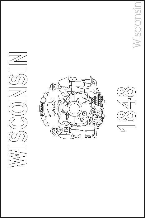 wisconsin state flag coloring pages usa for kids