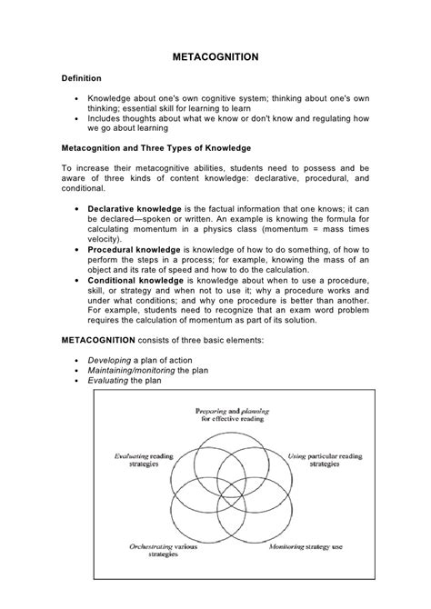 Metacognitive Essay by Metacognition Essay N 186 4