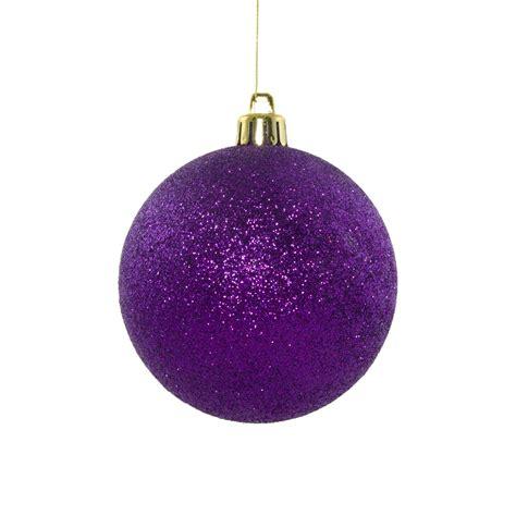 80mm round glitter ball ornament purple xy203323