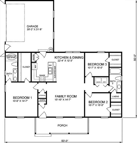 1400 Sq Ft House Plans | traditional style house plan 3 beds 2 baths 1400 sq ft