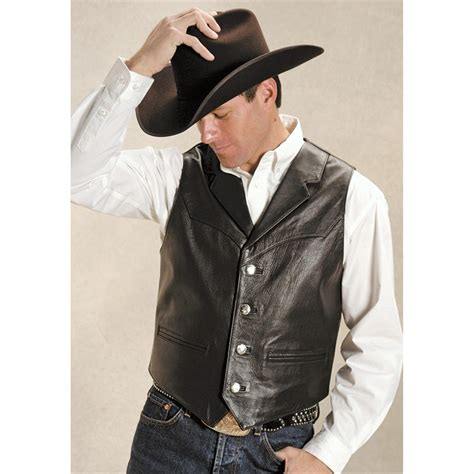 leather vest roper 174 saguaro west nappa leather vest black 127629