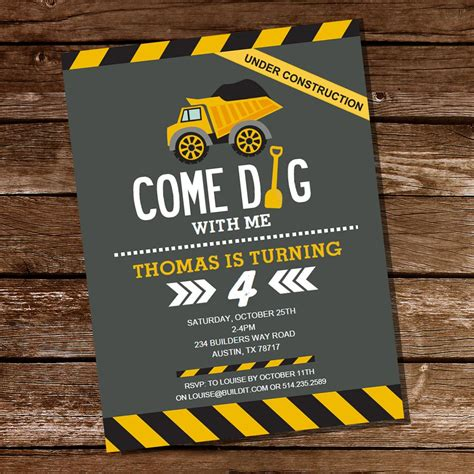 Come With Me Birthday Invite by Come Dig With Me Construction Invitation For A Boy