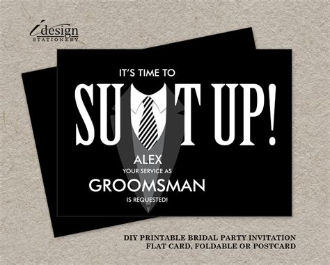 Printable Groomsman Proposal Card Suit Up Black Tuxedo Groomsmen Template