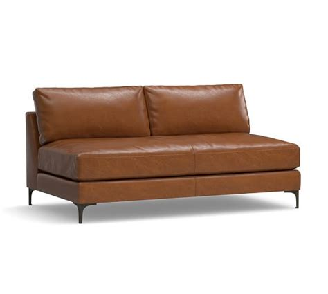 Armless Leather Loveseat jake leather armless loveseat pottery barn