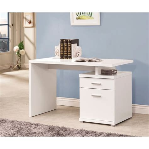 contemporary white desk coaster contemporary desk with cabinet in white 800110