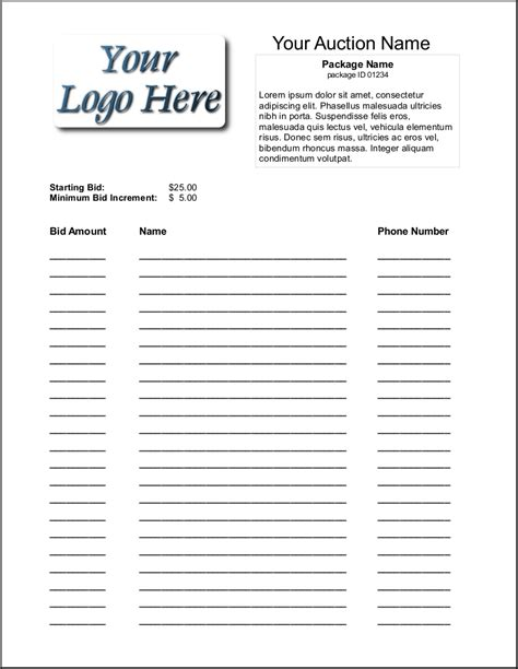 bid auctions free blank silent auction bid sheets