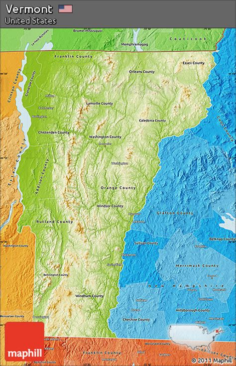 vermont united states map free physical map of vermont political shades outside