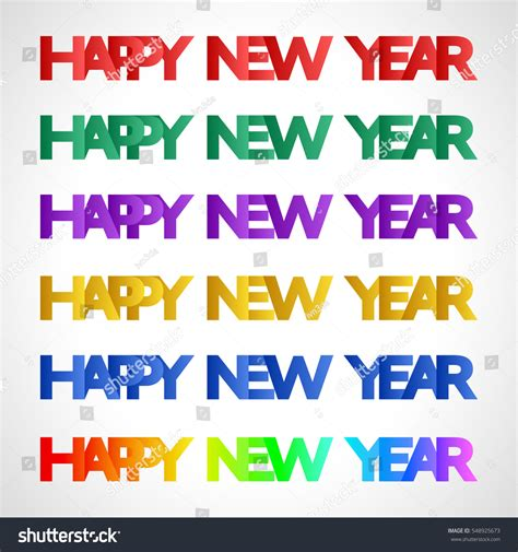 colors for new years happy new year sign different colors stock vector