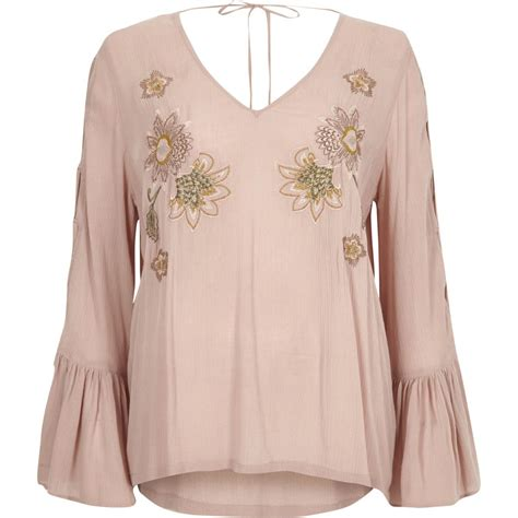 Sleeve Embroidered pink floral embroidered flared sleeve top t shirts