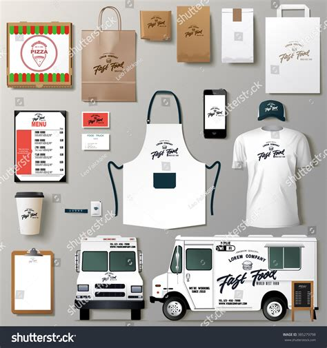 food truck brand design vector food truck corporate identity template stock vector