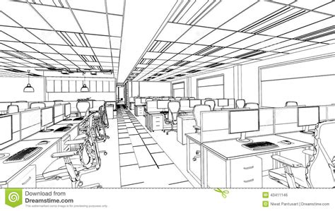 outline sketch of a interior office area stock illustration image 43411146