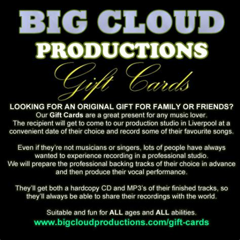 Gift Card Production - big cloud productions gift cards music production for singers