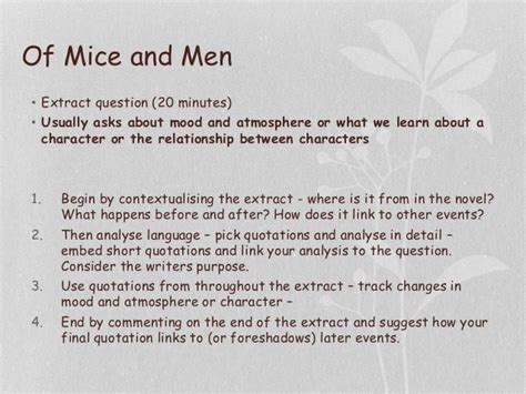 of mice and men section 2 questions of mice and men revision