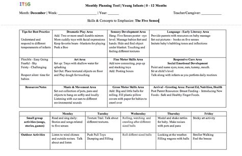 infant lesson plan template infant toddler specialist 187 universal lesson