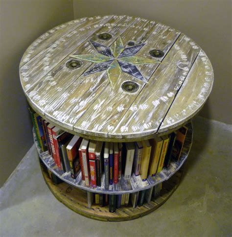 wooden cable reel bookcase recycled wood projects