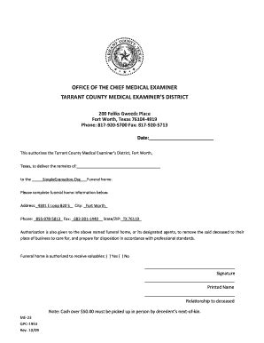 Tarrant County Examiner Records Fillable Simplecremation Examiner Release Tarrant County Simple