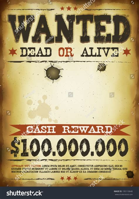 Wanted Vintage Western Poster Illustration Vintage Stock Vector 195110648 Shutterstock Western Wanted Poster Template