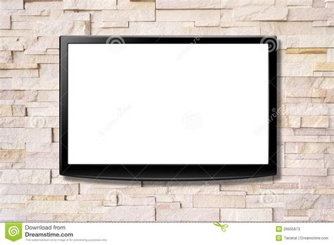 Lcd Tv Wall blank screen lcd tv hanging on a wall stock image image 26505673