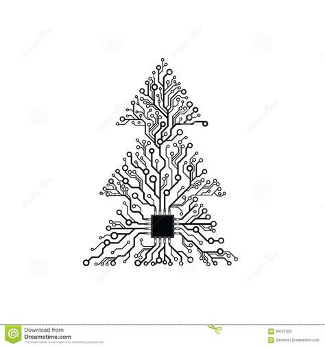 Electronic Tree - vector electronic tree stock vector image