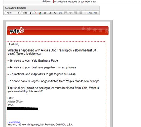 B2b Email Marketing Tips From Tripling Yelp S Response Rate Yelp Review Template
