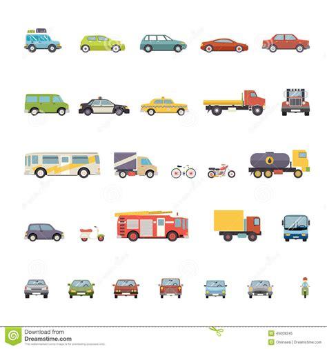icon design cars modern flat design transport symbols stylish retro stock