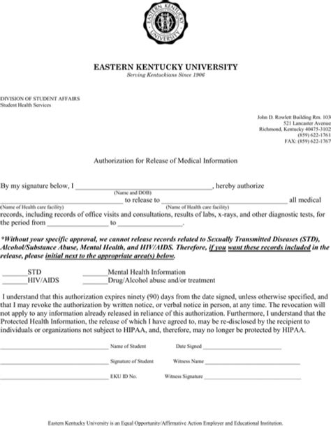 authorization to release information form template kentucky records release form for free