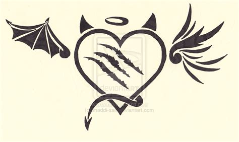 angel devil heart tattoo designs drawings related keywords