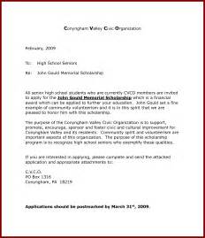 Cover Letter Sle For Scholarship Application by Writing A Application Letter For