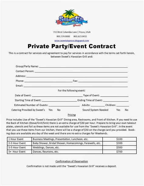 event space rental contract template welcome to our sweet s time is coming