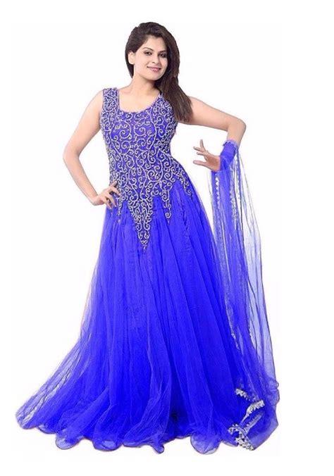 gaun sar i navy thread work net semi stitched gown at rs 649