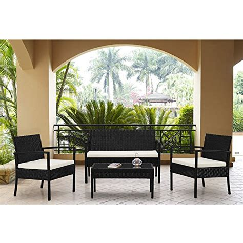 Indoor Patio Furniture Sets Complete Outdoor Indoor 4 Rattan Wicker Coffee Table Garden Patio Furniture Set Black