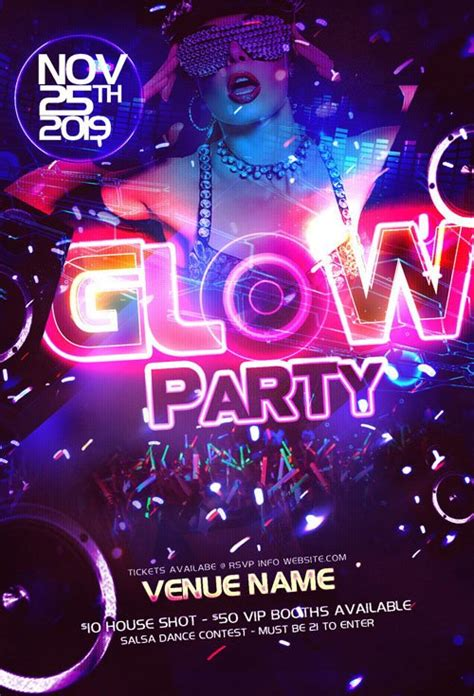 Party Flyer Template Psd Neon Glow 187 Nitrogfx Download Unique Graphics For Creative Designers Neon Flyer Template Free