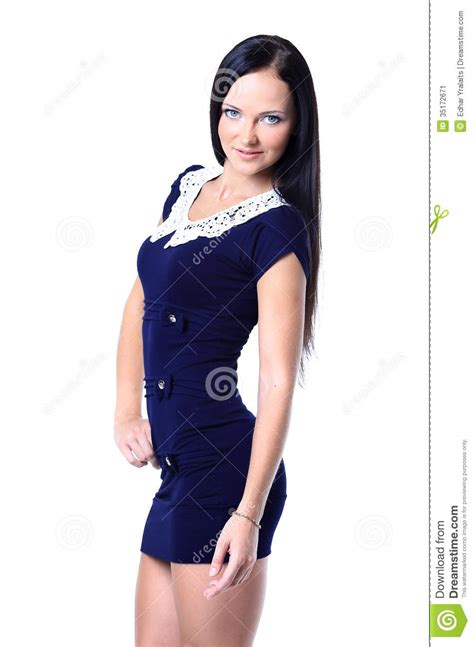 who is the brunette in the blue dress in the viagra add young brunette lady in blue dress posing stock image