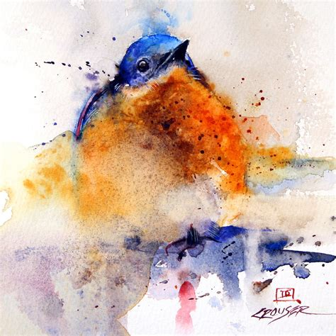 painting the sea people and birds with watercolor basics baby bluebird watercolor bird art print by dean crouser