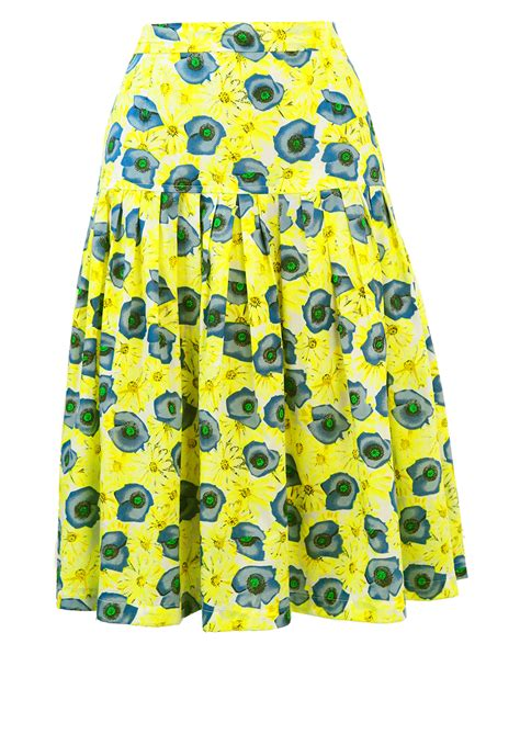 yellow patterned skirt yellow blue floral patterned full knee length skirt s