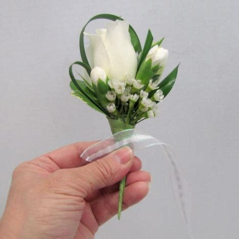 White Rose Boutonnieres   Ribbon Wrapped Stem
