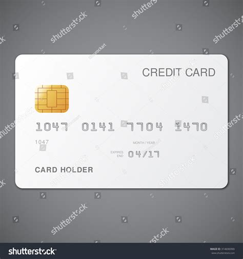 and white card template white credit card template on grey stock vector 314696990