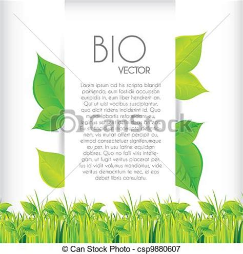 vectors illustration of bio concept design with grass background vector csp9880607 search
