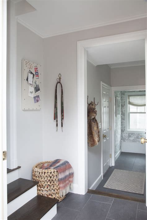 light gray paint colors transitional entrance foyer benjamin balboa mist erin