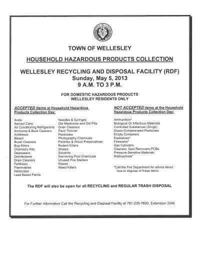 Swellesley Report by Wellesley Rdf To Take Your Household Hazardous Products May 5 The Swellesley Report News