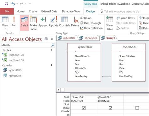 access form design query using excel with a database