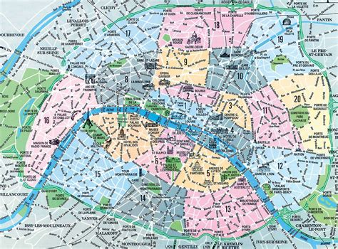 printable maps paris neighbourhoods paris map images