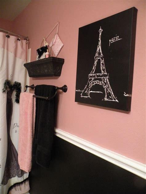 paris bathroom decor black and pink paris bathroom shower curtain and